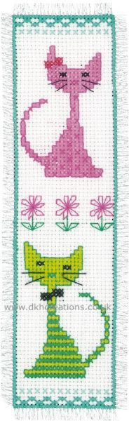 Pink And  Green Cat Bookmark Cross Stitch Kit